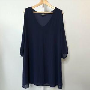 Lulu's Shifting Dears Navy Blue Split Sleeve Dress